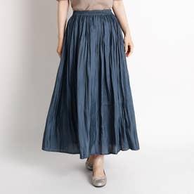 【S-LL】レザーライクプリーツスカート (ブルー)