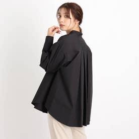 【S-3L】バックタックバンドカラーシャツ (ブラック)