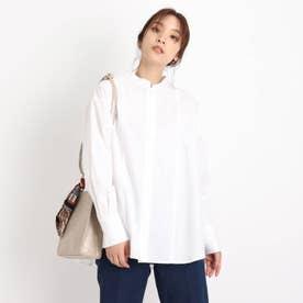 【S-3L】バックタックバンドカラーシャツ (オフホワイト)
