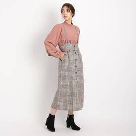 【S-LL】チェックアソートサス付きスカート (赤チェック)