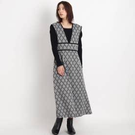 【S-LL】アラベスクジャガードジャンスカ (ブラック)