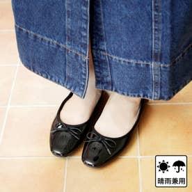 【晴雨兼用】スクエアトゥのフラットレインパンプス (ブラック)