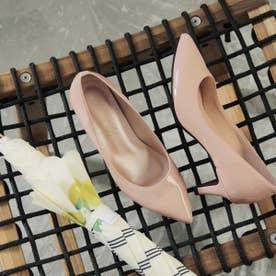 【晴雨兼用】日本製ポインテッドデザインのヌーディパンプス (ピンク)