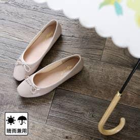 【晴雨兼用】スクエアトゥのフラットレインパンプス (グレーベージュ)