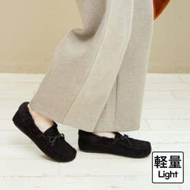 【軽量】柔らか仕様の内ボアモカシンシューズ (ブラック)
