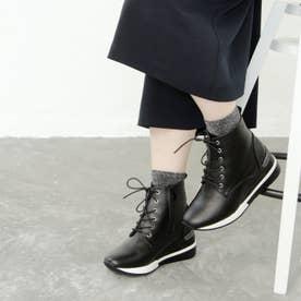 【撥水仕様】レースアップのスニーカーブーツ (ブラック)