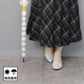 【日本製】晴雨兼用Vカットデザインのウェッジパンプス (ライトグレー)