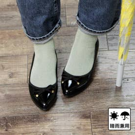 【日本製】晴雨兼用リボンデザインのウェッジパンプス (ブラック)