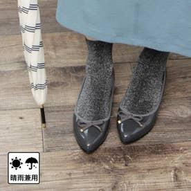 【日本製】晴雨兼用リボンデザインのウェッジパンプス (ダークグレー)