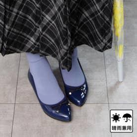【日本製】晴雨兼用リボンデザインのウェッジパンプス (ネイビー)