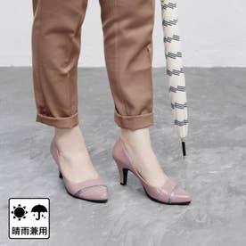 【日本製】晴雨兼用切り返しデザインのポインテッドパンプス (ピンク)