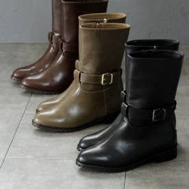 ワンベルトデザインのミドル丈ブーツ (グレーオーク)