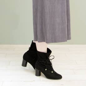 円柱ヒールのくったりデザインブーツ (ブラック)