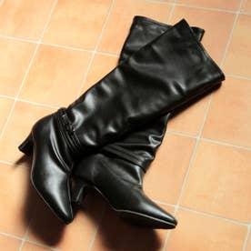 スクエアヒールのシャーリングロングブーツ (ブラック)