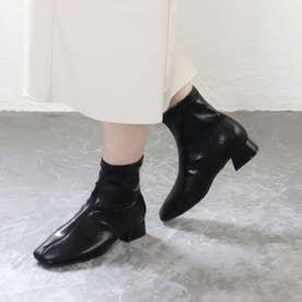 【S~3L】スクエアトゥストレッチショートブーツ (ブラック)