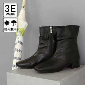 【3E幅広】【晴雨兼用】スクエアトゥシャーリングデザインレインブーツ (ブラック)