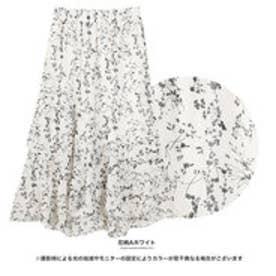 シフォンアシンメトリースカート 花柄Aホワイト