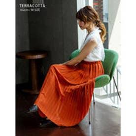 繊細なプリーツが上品な揺れ感を演出ジョーゼットプリーツスカート テラコッタ