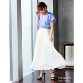 繊細なプリーツが上品な揺れ感を演出ジョーゼットプリーツスカート オフホワイト