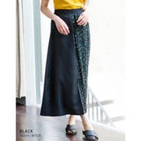 花柄と無地の組み合わせがトレンド異素材ラップ風配色プリーツスカート ブラック