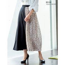 花柄と無地の組み合わせがトレンド異素材ラップ風配色プリーツスカート ベージュ