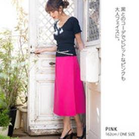 きれいめロングフレアスカート ピンク