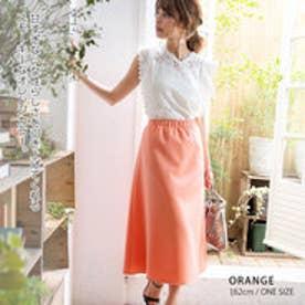 きれいめロングフレアスカート オレンジ
