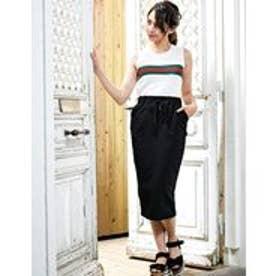 [ボトムス スカート]上品な丈と楽ちんスウェット素材 ストレッチミディタイトスカート[190626] (ブラック)