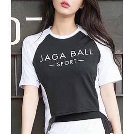 [スポーツ]ロゴ入りメッシュラグランTシャツ M/L[180656] 【返品不可商品】 (ブラック)