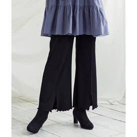 [パンツ]センターメロウカットフレアパンツ[200748] (ブラック)