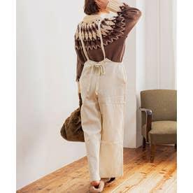 [パンツ オールインワン]バックリボン起毛ツイルサロペット[200931] ((M)アイボリー)