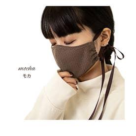 [マスク]洗えるチェック柄リボンファッションマスク[201126]【返品不可商品】 (モカ)