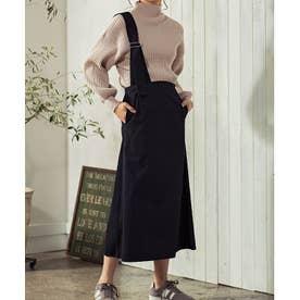 [スカート]微起毛ツイルアシンメトリージャンパースカート[191022] (ブラック)