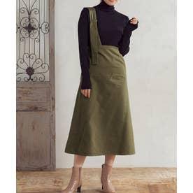 [スカート]微起毛ツイルアシンメトリージャンパースカート[191022] (カーキ)