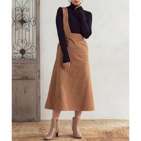 [スカート]微起毛ツイルアシンメトリージャンパースカート[191022] (ベージュ)