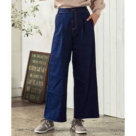 [パンツ]裏起毛デニムワイドパンツ M L[190720] (ネイビー)