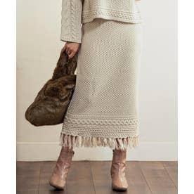 [スカート]3Gバルギーフリンジ付きケーブル編みニットスカート[200912] (アイボリー)