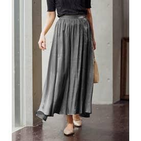 [スカート]シャイニーロングフレアスカート[201207] (ブラック)