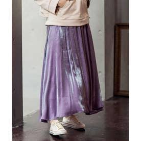 [スカート]シャイニーロングフレアスカート[201207] (パープル)