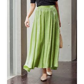 [スカート]シャイニーロングフレアスカート[201207] (グリーン)