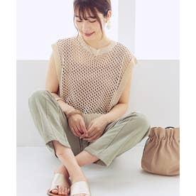 [トップス]メッシュ編み麻タッチバックスリットベスト[210304] (アイボリー)