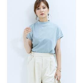 [トップス]モックネックフレンチTシャツ[200808] (ブルー)