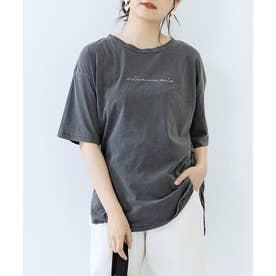 [トップス]刺繍ロゴ入りピグメント加工Tシャツ[210412] (チャコール)