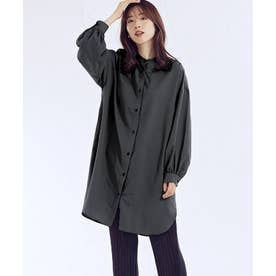 [ワンピース]バンドカラーシャツワンピース[210617] (ブラック)
