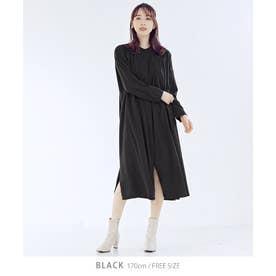 [ワンピース]タックシャツワンピース[210801] (ブラック)