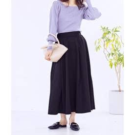 [スカート]バーバリーロングフレアスカート[210624] (ブラック)