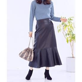[スカート]フェイクレザーマーメイドスカート[210832] (ブラック)