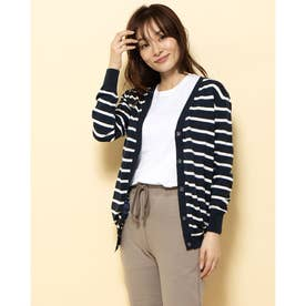 【BED&BREAKFAST】Classic Striped Sweater Vネックカーデ (NAVYmix)