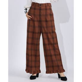 [BED&BREAKFAST]Wool Check Frill Pants (BROWN)