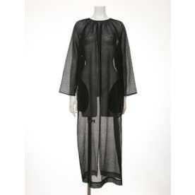 [BED&BREAKFAST]Sheer Striped Crepe ギャザードレス (BLACK)